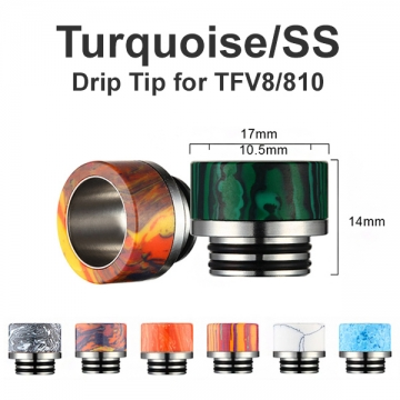 Turquoise/SS Drip Tip TFV8/810