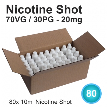 80x Nicotine Shot 70/30-20mg 10ml